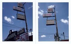 filter kit 551 test shots- lens shade on left, polarizing lens on right (EllenJo) Tags: summer arizona sky signs beer bar mainstreet july schlitz budweiser testshots landcamera verdevalley cottonwoodarizona polaroidlandcamera packagegoods 89a july20 polaroidfilter fujifp100c fujiinstantfilm coorsontap 86326 ellenjo ellenjoroberts chaparralbar polaroidpathfinder rollfilmcameraconvertedtopackfilm sunbakedsigns filterkit551
