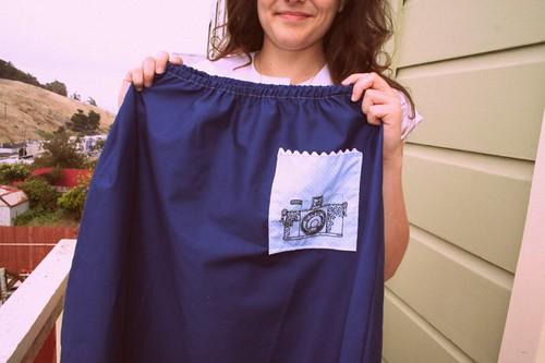 Navy Camera Skirt