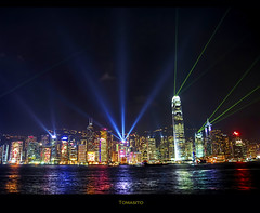 A Symphony of Lights: The Worlds Most Beautiful Skyline Part II. (Tomasito.!) Tags: ocean show longexposure travel pink blue red sea vacation