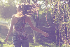 I dream to forget (AnnuskA  - AnnA Theodora) Tags: light portrait woman selfportrait motion animal hair print flying action bokeh dream jeans brazilian dreamy brunette goldenlight oncinha magiclight denin flyingseeds spinningaroundfortheshot