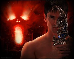 The Devil is on His Way (Anthazorra) Tags: world california sexy greek fight muscle earth muscular gorgeous manly hell handsome planet devil warrior vein titan myth titans tanned strenght greekgod giantgod holdingtheworld yannisthomas jasonaaronbaca atlasgod