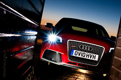 Audi RS3 (AndWhyNot) Tags: longexposure blue light red lightpainting beach car night painting twilight long exposure painted fast huts hut turbo hour audi lightpainted misano 8831 rs3