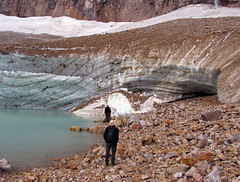 Angel Glacier on Mt. Edith Cawell, Jasper NP, Canada (Pixmac_at) Tags: summer two people sun canada man mountains men travelling tourism nature water sunshine weather person landscapes daylight couple rocks seasons looking desert adult masculine stones watching lakes dry tourists glacier hills males daytime summertime np nationalparks ponds 2people twopeople naturalworld humans admiring exteriors waterlevel angelglacier jaspernp 18years backportrait utdoors mtedithcawell