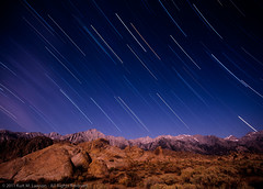 Mount Whitney by moonlight (Kurt Lawson) Tags: california mountains film night sierra moonlight sierras mountwhitney sierranevada lonepine mamiya645 startrails easternsierras alabamahills lonepinepeak