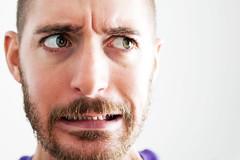 Grimace (Damien Cox) Tags: uk gay portrait selfportrait man male me self ego myself beard masculine moi homo homosexual queer scruff stubble sigma30mmf14exdchsm i nikond40 damiencox snaptweet dcoxphotographycom