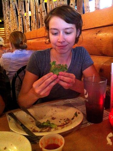 The last few bites of the Kookamonga Burger, Kooky Canuck, Memphis, Tenn.