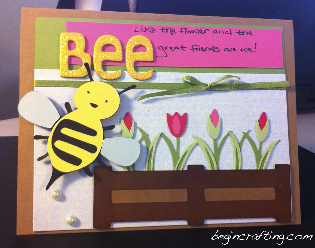Handmade Bee and Flower Card