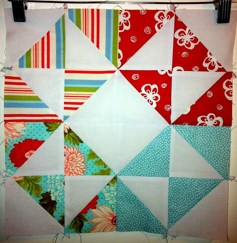 Aqua and Red Bee - Lynne's Second July Block
