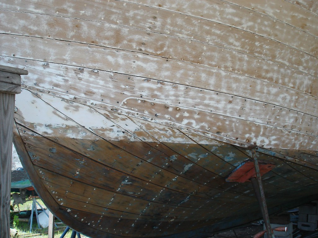Wooden boat hull under construction