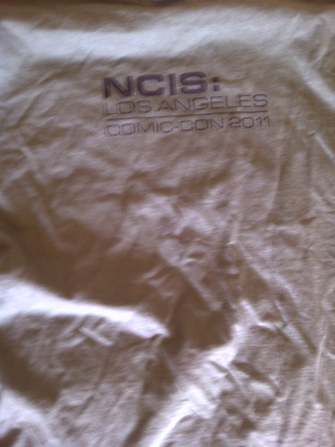 front of NCIS:LA t-shirt (it IS green, see the back pic)