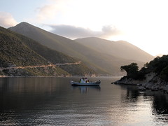 morning Porto Leone (nikfass) Tags: sea summer vacation sunrise island dawn boat fishing holidays greekislands ionian kalamos    portoleone      epl1