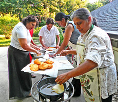 Women Preparing Bhatura (Adavis826) Tags: dinner women celebration kansas making preparing bhatura indianfrybread