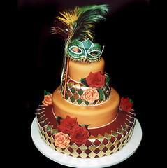 "<p>""Gold Diamonds with Red &amp; Orange Fondant"" </p>"