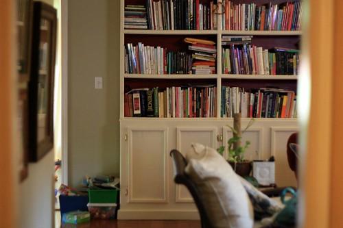 my cluttered bookshelves