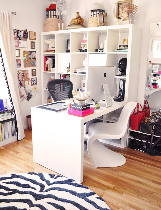 ikea office inspiration. Ikea Expedit Desk In Home Office With Zebra Rug And Panton Chair Inspiration W