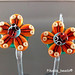 Earring Pair : Orange Ladybug Flower Blossom