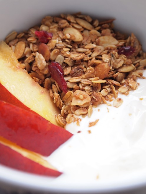 homemade musli/granola with yogurt and nectarine