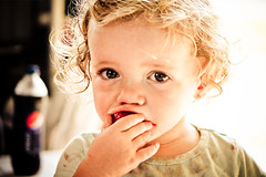 allyson shine (ang mcdougald photography) Tags: food baby canada cute girl fruit kid eyes strawberry toddler child sweet eating small young littlegirl flickrchallengewinner photographphoto childrenontario