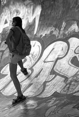 candid shot (wojofoto) Tags: amsterdam flevopark skateramp skatebaan girl meisje candid bw zw wojofoto graffiti wolfgangjosten blackandwhite zwartwit nederland netherland holland monochrome straatfoto streetphoto people mensen