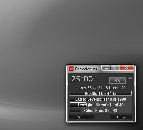 Pomodoro technique timer window