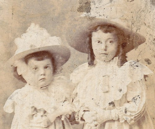 Frilly girls with parasols, Manchester.(enlarged detail)
