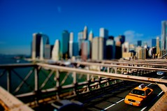 yellow (the clemster) Tags: city nyc blue urban newyork yellow brooklyn cabs tiltshift