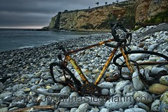 yellow bike (tanguera75) Tags: ocean old sea cliff abandoned beach bike bicycle bay junk rocks pebbles shore rusted remains wrecked incongruous