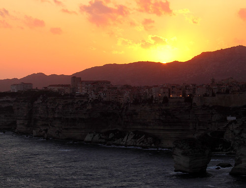 Sunset behind Bonifacio