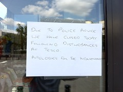 Surrey Quays: Decathlon closed. Some windows boarded up. Tesco business as usual.