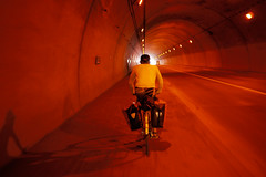 Cycling through a tunnel on Route 5 near Otaru, Hokkaido, Japan