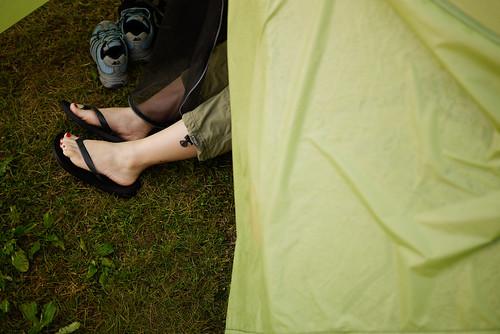 Feet in a tent at Lake Toya, Hokkaido, Japan