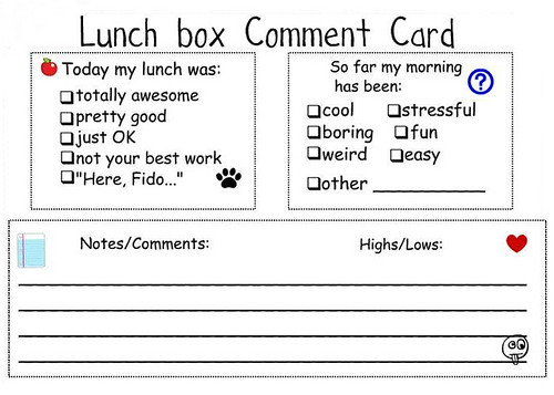 lunchbox comment card 92611