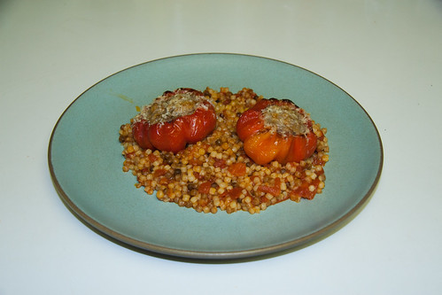 Meatball Stuffed Red Ruffled Pimientos over Toasted Fregola