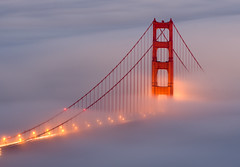 The light shines on the bay (shhflights) Tags: sunset fog goldengatebridge pentaxkx slackerhill