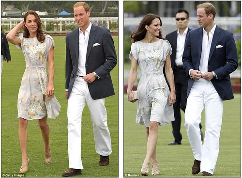 Kate Middleton keeps it simple in a fresh and floral dress as she and Prince William mingle with celebrities at charity polo match  2