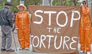 Demonstration in solidarity with the prisoners at Pelican Bay in California. The demonstration took place on July 9 to support inmates on a hunger strike. (Photo: Judy Greenspan) by Pan-African News Wire File Photos