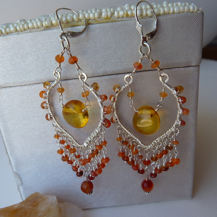 Burning - Fire Opal Tribal Earrings