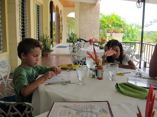Ezra and Bethany work on the kids' menu activities