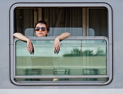 Watching the world go by (Mirek028) Tags: portrait people window train 50mm pentax f14 railways k5 twop prozor jelena ljudi vlak smcpfa50mmf14 justpentax h pentaxart luminitsa