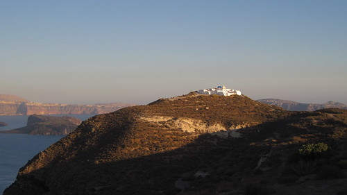 A church on the corner of Therasia, far from the hoards of tourists. In the background the Kameni islands can be seen, and behind that Thera (or the 'mainland').