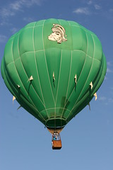 Green balloon (NeriStar) Tags: blue sky green colors balloons colorful michigan balloon jackson hotairballoon environment hotairballoons clearsky niceweather smalltownjackson