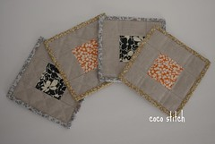 quilted coaster - Liberty x Linen (coco stitch) Tags: kitchen liberty linen etsy coaster tablewear