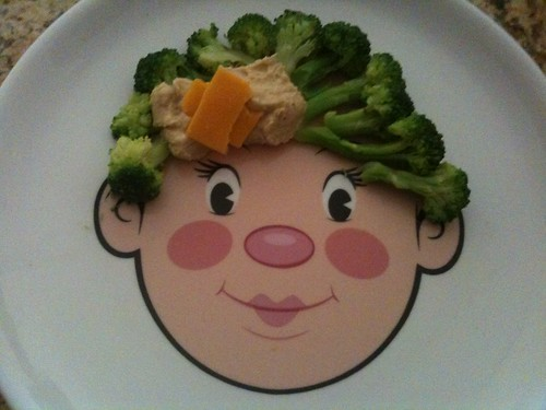 Food Face-Broccoli Hair with Hommus and cheese bow