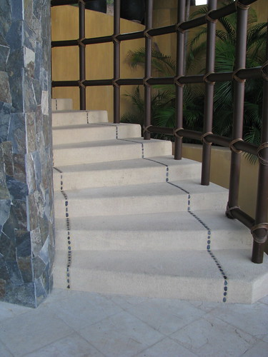 stairway with grey pebble detail
