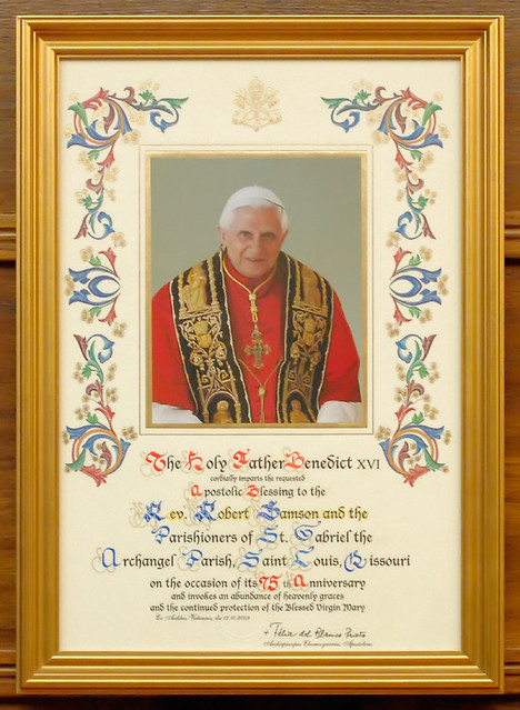 Saint Gabriel the Archangel Roman Catholic Church, in Saint Louis, Missouri, USA - certificate of Apostolic Blessing