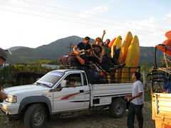 Heading to the put in on the Kameng river Adventure rafting and Kayaking trip