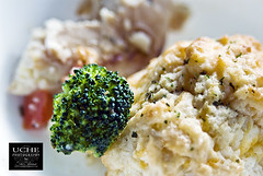 273.365.broccoli.cheese bread. (simis) Tags: red food green chicken bokeh broccoli 365 dailyphoto day273 cheesebread flecksofgreen