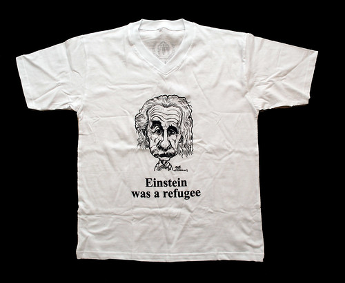 Albert Einstein caricature printed on UNHCR T-shirts for World Refugee Day - 4