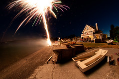 Fisheye fireworks (Northwest dad) Tags: beach water island washington nikon fireworks fisheye 8mm whidbey d300 samyang prooptic