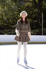Leighton Meester in white tights 2 (whitenylonfan) Tags: pink winter white ice hat pom outdoor skating tights skirt jacket gloves figure rink plaid leighton poms meester